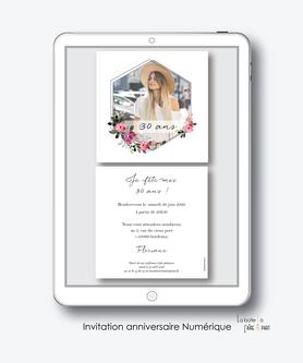 Invitation anniversaire femme numérique-Invitation électronique-Invitation digitale-imprimable-pdf numérique-Invitation connecté-Invitation anniversaire à envoyer par mms-par mail-réseaux sociaux-whatsapp-facebook-bouquet de fleurs-champêtre-carré-florale