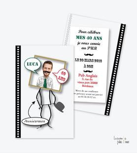 invitation anniversaire homme moustache-chapeau melon-carte invitation anniversaire homme