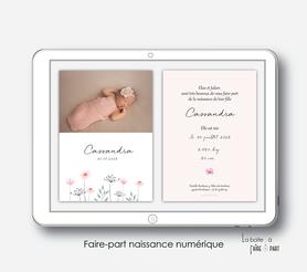 faire-part naissance numérique-faire part électronique-faire part numérique-imprimable-pdf numérique-faire part connecté-bouquet champêtre -faire part à imprimer soi-même-faire-part à envoyer par sms-mms-par mail-réseaux sociaux-whatsapp-facebook