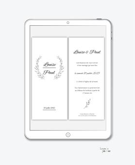 faire-part mariage numérique-faire part mariage digital-faire part numérique-pdf numérique-faire part mariage electronique -faire-part à envoyer par mms-par mail-réseaux sociaux-whatsapp-facebook-messenger-simplicité-noir et blanc-couronne de feuille