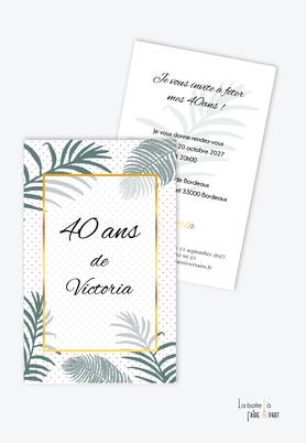 invitation anniversaire femme-carte d'invitation anniversaire femme 20ans-30ans-40ans-50ans-60ans-70ans-jungle-tropical-exotique-palmier-feuille de palmier -doré