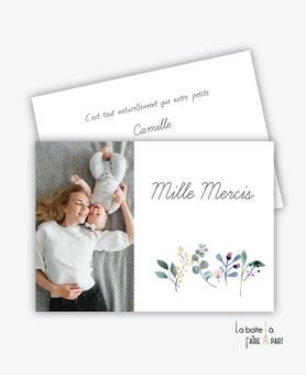 carte de remerciement naissance fille -avec photo-fleurs-champêtre-eucalyptus-