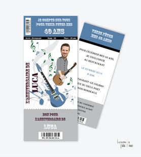 invitation anniversaire homme concert man-billet concert-guitare-musique-rock