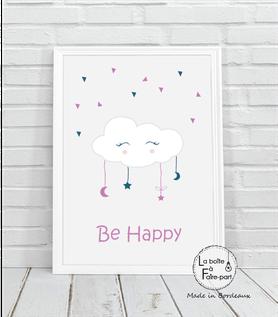 Affiche fille nuage blanc- nuage blanc-étoile-lune-plumes-yeux-be happy-déco chambre-affiche déco-poster- chambre de bébé-poster de chambre-déco chambre de bébé-affiche de naissance-affiche cadeau-cadeau de naissance- affiche naissance