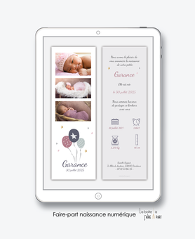 faire-part naissance fille numérique-faire part électronique-faire part numérique-imprimable-pdf numérique-faire part connecté-ballons-etoiles-pictogramme-faire part à imprimer -faire-part à envoyer par sms-mms-par mail-réseaux sociaux-whatsapp-facebook