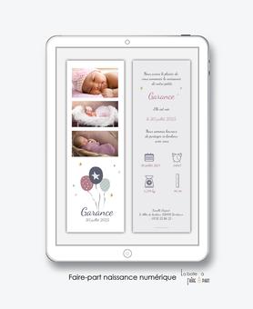 faire-part naissance fille numérique-faire part électronique-faire part numérique-imprimable-pdf numérique-faire part digital-ballons-etoiles-pictogramme-faire part à imprimer -faire-part à envoyer par sms-mms-par mail-réseaux sociaux-whatsapp-facebook