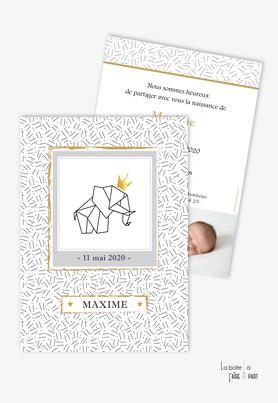 faire part naissance garçon-Eléphant couronne-faire part tendance-moderne-pas cher-Elephant en origami-motif graphique- couronne doré-noir et blanc-avec photo-faire part animal