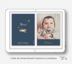 carte de remerciements naissance garçon numérique-avion-oiseau-avion vintage-carte de remerciement digital-pdf imprimable-pdf numérique-faire part connecté-à imprimer-carte de remerciement naissance à envoyer par mail
