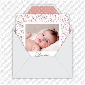 faire-part naissance fille numérique-faire-part naissance fille électronique-fichier pdf - robe à chevron -à imprimer soi même-à envoyer par mail -à envoyer par sms