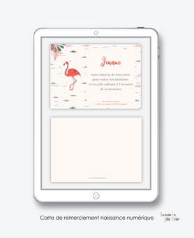 Carte de remerciements naissance fille numérique-carte de remerciements fille électronique-fichier Pdf- flamant rose tropical-à imprimer soi même-à envoyer par mail -à envoyer par sms