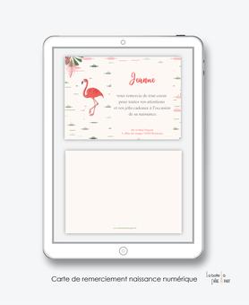 Carte de remerciements naissance fille numérique-carte de remerciements fille électronique digital-fichier Pdf- flamant rose tropical-à imprimer soi même-carte de remerciement à envoyer par mail, mms et réseau sociaux