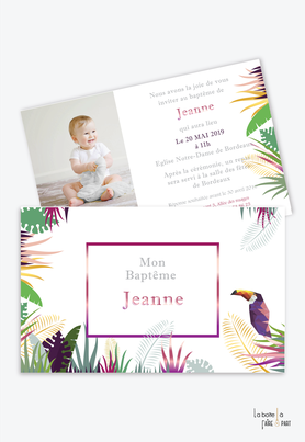 faire part bapteme fille tropical toucan-jungle