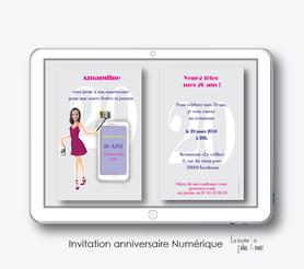 invitation anniversaire femme numérique-électronique- 20ans-30ans-40ans-50ans-60ans-à imprimer soi-même--faire-part à envoyer par sms-mms-par mail-réseaux sociaux-whatsapp-facebook-Selfie-smartphone-téléphone portable-