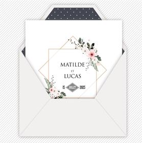 Faire-part mariage gif animé-faire-part mariage virtuel- faire part mariage digital-faire-part mariage numérique animé-électronique-à envoyer via les réseaux sociaux-whatsapp-facebook-messenger-mms-bouquet champêtre-fougére-fleurs-pictogramme-format carré