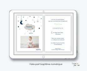 faire part bapteme garçon numérique-électronique-fichier Pdf-nuage lune-à imprimer soi même