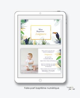 faire-part baptême numérique-faire part baptême électronique-faire part numérique-pdf imprimable-pdf numérique-faire part connecté-tropical toucan -faire part à imprimer soi-même-faire-part à envoyer par sms  ou mms- faire-part à envoyer par mail