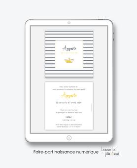 faire part naissance garçon numérique-faire part garçon digital-fichier Pdf-bateau marin origami-rayure- noued marin-envoyer par mail -envoyer par sms ou mms-réseaux sociaux-via smartphone-messenger