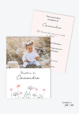 faire part baptême fille-bouquet de fleurs-marguerite-bouquet de fleur champêtre-