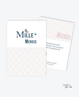 carte de remerciement naissance  fille-monogramme petit oiseaux-motif vintage-animaux-