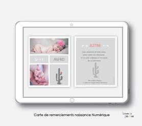 Carte de remerciements naissance fille numérique-carte de remerciements fille électronique-fichier Pdf-cactus gris -à imprimer soi même-à envoyer par mail -à envoyer par sms