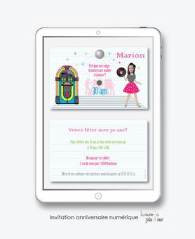 invitation anniversaire femme numérique-électronique- 20ans-30ans-40ans-50ans-60ans-faire-part à envoyer par sms-mms-par mail-réseaux sociaux-whatsapp-facebook-jukebox-disco-dance