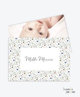 carte de remerciement naissance garçon-liberty-fleurs-coloration bleu et vert-tendance-moderne-pas cher-
