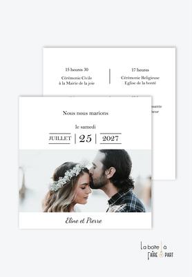 Faire-part mariage-romantique-chic-avec photo-format carré-