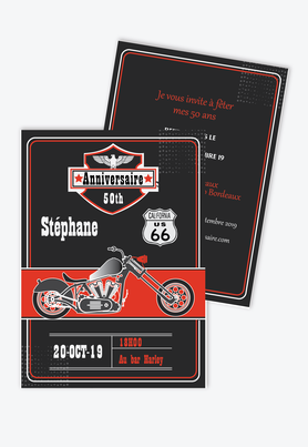 Invitation anniveraire homme harley-moto-rock