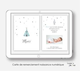 Carte de remerciements naissance garçon numérique-carte de remerciements garçon électronique-fichier Pdf-tipi-à imprimer soi même-à envoyer par mail -à envoyer par sms