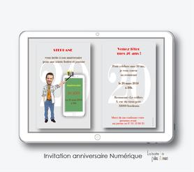 Carte invitation anniversaire homme -invitation anniversaire homme numérique-électronique- 20ans-30ans-40ans-50ans-60ans-à imprimer soi-même--faire-part à envoyer par sms-mms-par mail-réseaux sociaux-whatsapp-facebook-Selfie-smartphone-téléphone portable-