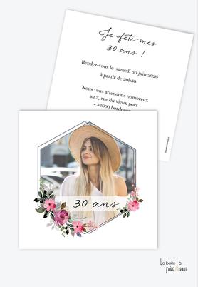 invitation anniversaire femme-carte d'invitation anniversaire femme 20ans-30ans-40ans-50ans-60ans-70ans-avec photo-bouquet de fleur-champêtre-fleuri - format carré