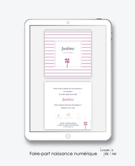 faire-part naissance fille numérique-faire-part naissance fille électronique-fichier pdf - à imprimer soi même-à envoyer par mail -à envoyer par sms moulin à vent  -Rose et blanc