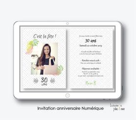 invitation anniversaire femme numérique-électronique-digital-pas cher-à envoyer par mail et reseaux sociaux-whatsapp-facebook-mms-20ans-30ans-40ans-50ans-60ans-à imprimer soi-même-Jungle-palmier-tropical-