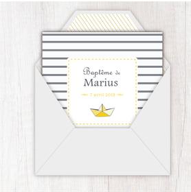 faire part bapteme garçon numérique animé-Faire-part baptême digital-électronique-fichier Pdf-envoyer via les reseaux sociaux-whatsapp-facebook-messenger- Bateau marin origami-rayure-