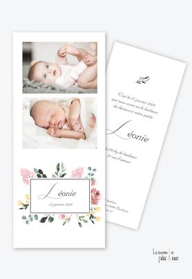 faire part naissance fille -fleurs-floral-eucalyptus-végétal -champêtrephoto-format marque page-