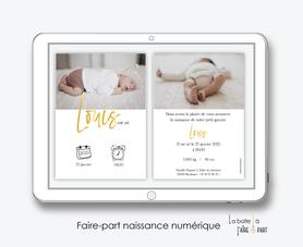 faire-part-naissance garçon numérique--faire-part-numérique-imprimable-pdf-numérique-faire-part-connecté-pictogrammes-ecriture dorée-photo-faire-part-à-imprimer-faire-part-à-envoyer-par-sms-mms-par-mail-réseaux-sociaux-whatsapp-facebook