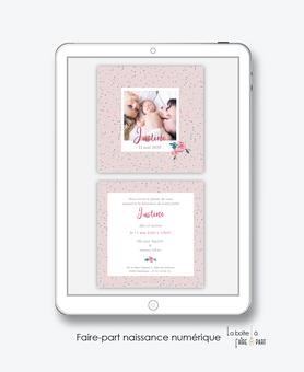 faire-part naissance numérique-faire part naissance électronique-faire part numérique-pdf numérique-faire part connecté-motif pois-fleurs-pivoine-A imprimer soi-même-faire-part à envoyer par sms ou mms-faire-part à envoyer par mail-réseaux sociaux