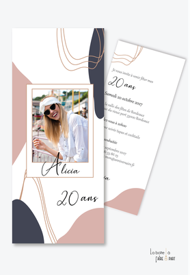 invitation anniversaire femme-carte d'invitation anniversaire femme 20ans-30ans-40ans-50ans-60ans-70ans-marque page-formes ovales-formes géométriques-photo polaroid-