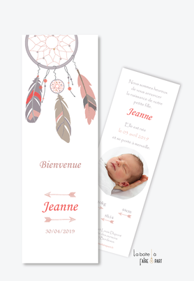 faire part naissance fille attrape reve-plume-boeme-fleche-format marque page
