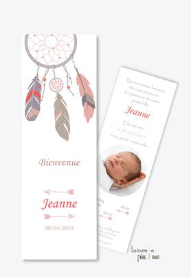 faire part naissance fille attrape reve-plume-boeme-fleche-format marque page-avec photo