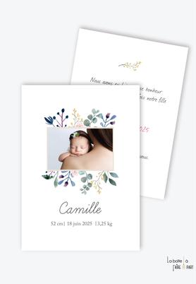faire part naisssance fille-format rectangle-bouquet champetre-eucalyptus-fleurs-végétal-photo