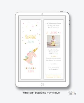 faire part bapteme fille numérique-Faire-part baptême digital-électronique-fichier Pdf-licorne origami dorée-à imprimer soi même