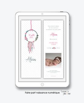 faire-part naissance numérique-faire part naissance électronique-pdf imprimable-pdf numérique-faire part connecté-attrape reves fleuri-faire part à imprimer soi-même-faire-part à envoyer par sms ou mms-faire-part à envoyer par mail-réseaux sociaux