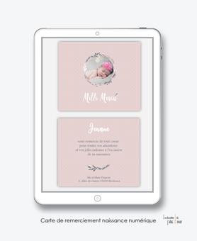 Carte de remerciements naissance fille numérique-carte de remerciements fille digital-fichier Pdf-lama couronne-à imprimer soi même-à envoyer par mail, mms et réseau sociaux