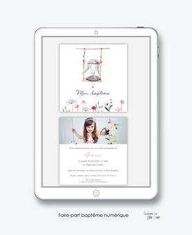 faire-part baptême fille numérique-faire part baptême digital-faire part numérique-pdf numérique-faire part connecté-faire-part à envoyer par mms-à envoyer par mail-réseau sociaux-whatsapp-facebook-balaçoire-fillette-fleurs-champêtre-couronne de fleurs-