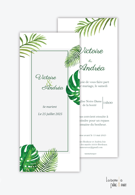 Faire-part mariage-format marque page-feuilles de palmiers-tropical-exotique