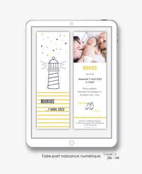 faire-part naissance garçon numérique-faire part naissance digital-faire part numérique-pdf numérique-faire part connecté-phare marin-botte-marque page-A imprimer-faire-part à envoyer par sms-mms-faire-part à envoyer par mail-réseaux sociau