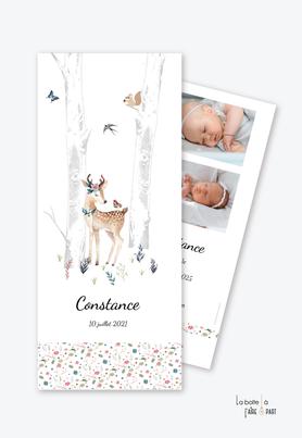 faire part naissance fille -animaux-biche-faon-oiseau-écureuil-bouleau-liberty-bois-forêt-photo-format marque page-