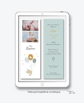 faire-part baptême garçon numérique-faire part baptême électronique-faire part numérique-pdf imprimable-pdf numérique-faire part connecté-ballons volants et colombe-faire part à imprimer-faire-part à envoyer par sms-mms-à envoyer par mail-réseaux sociau