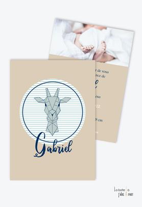 faire part naissance garçon tendance et pas cher-girafe origami-rayure-marin- kraft-animal